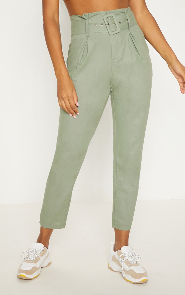 Sage Green Belted Paperbag Tapered Trouser 2