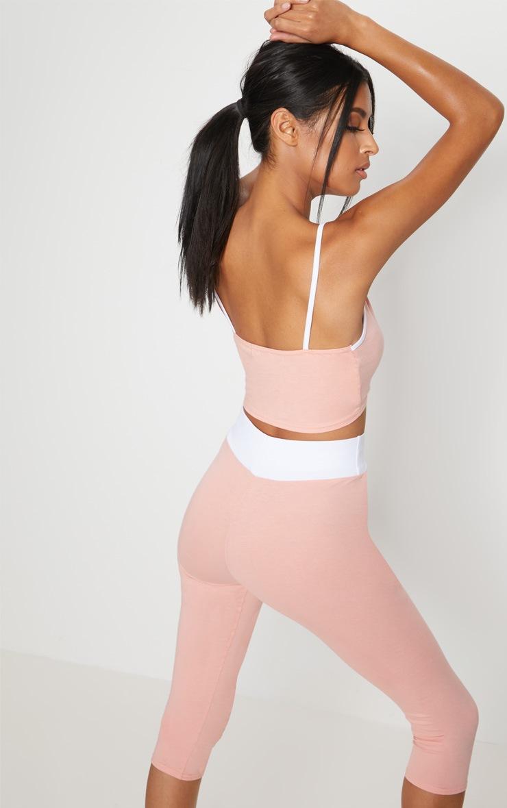 Pink Contrast Binding Plunge  Sports Crop Top 2