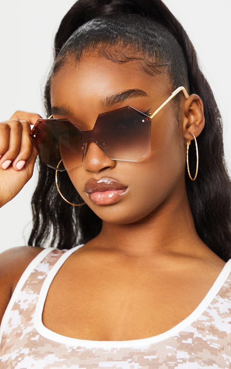 Brown Fade Rimless Faceted Hexagon Oversized Sunglasses 1