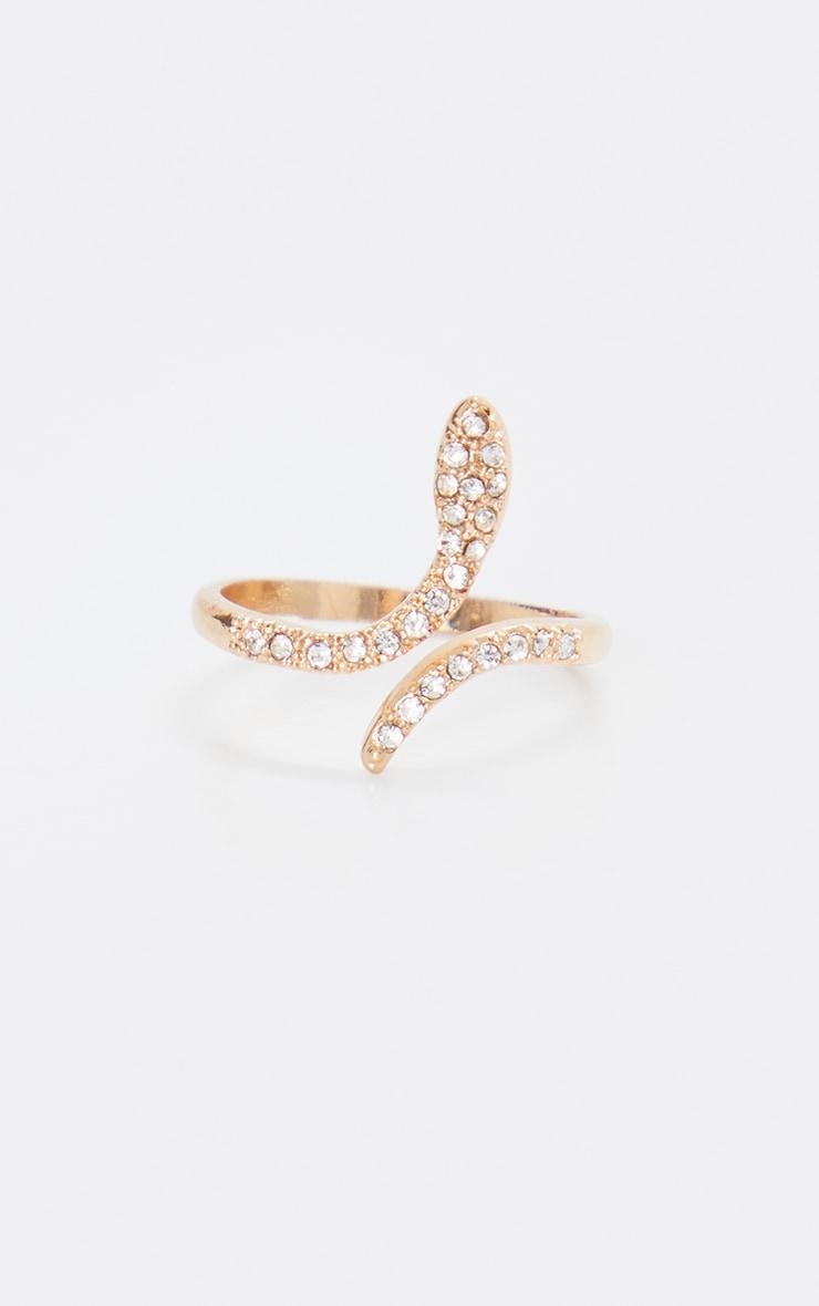 Gold Diamante Delicate Snake Ring 1