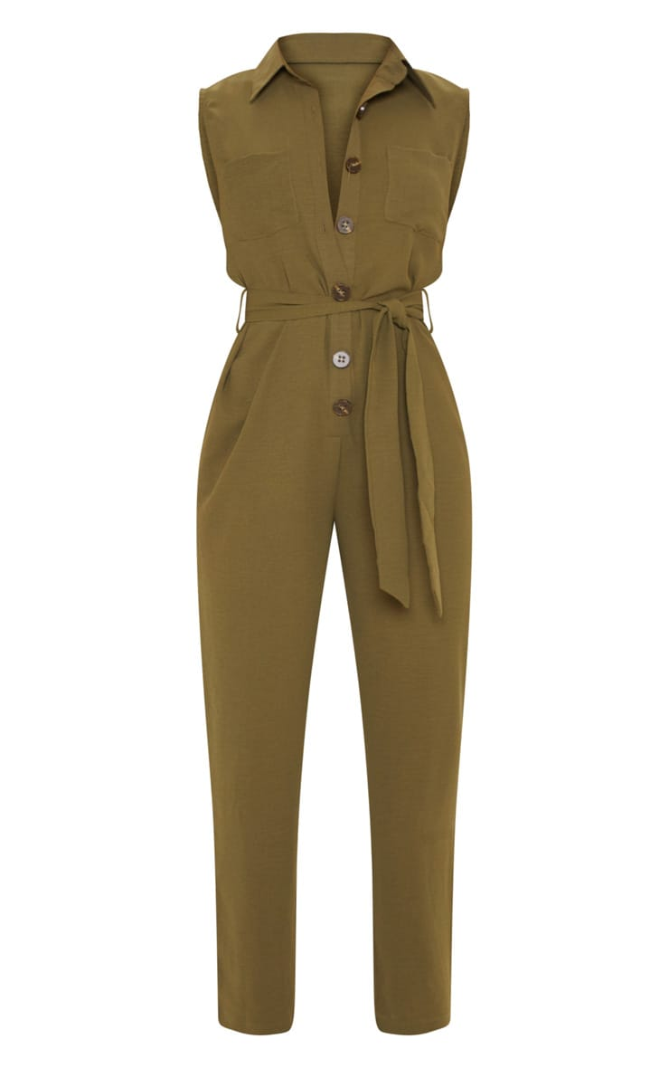 Khaki Tortoiseshell Button Sleeveless Jumpsuit 3
