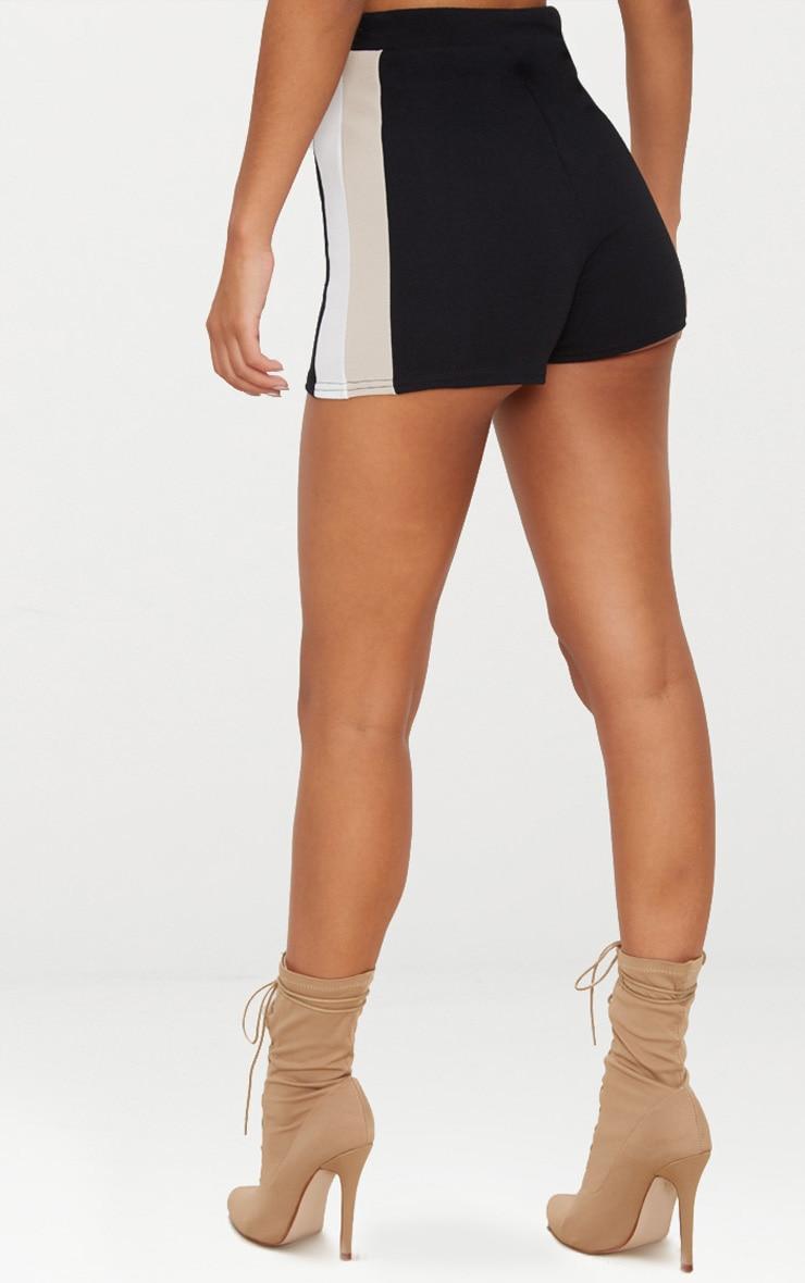 Black Crepe High Waisted Side Stripe Short 4