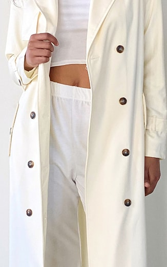 Tall Cream Woven Oversized Trench Jacket 4