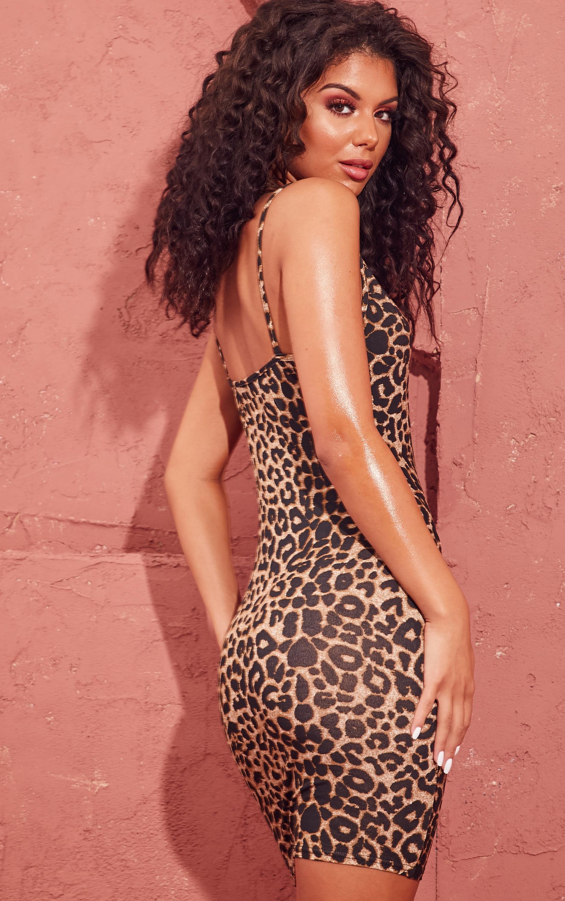 Leopard Print Strappy Plunge Bodycon Dress 2