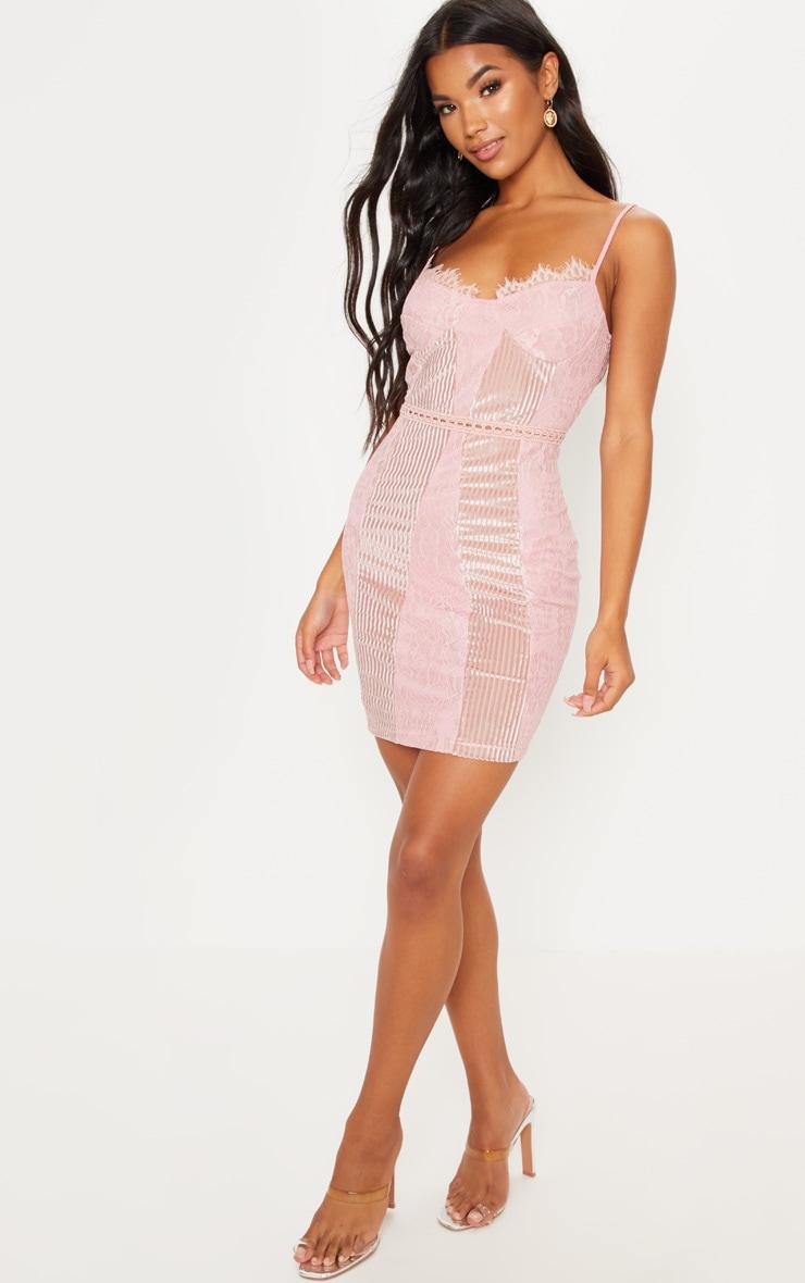 Pink Strappy Lace Velvet Insert Bodycon Dress 4