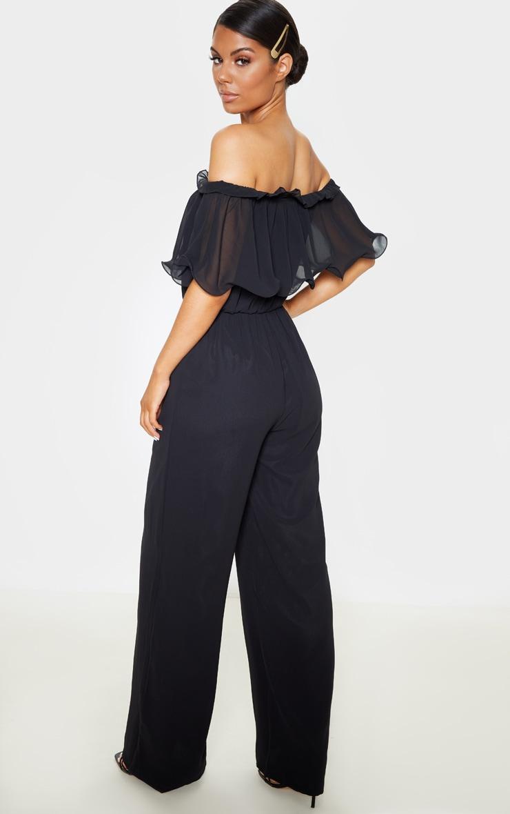 Black Chiffon Bardot Ruffle Jumpsuit 2