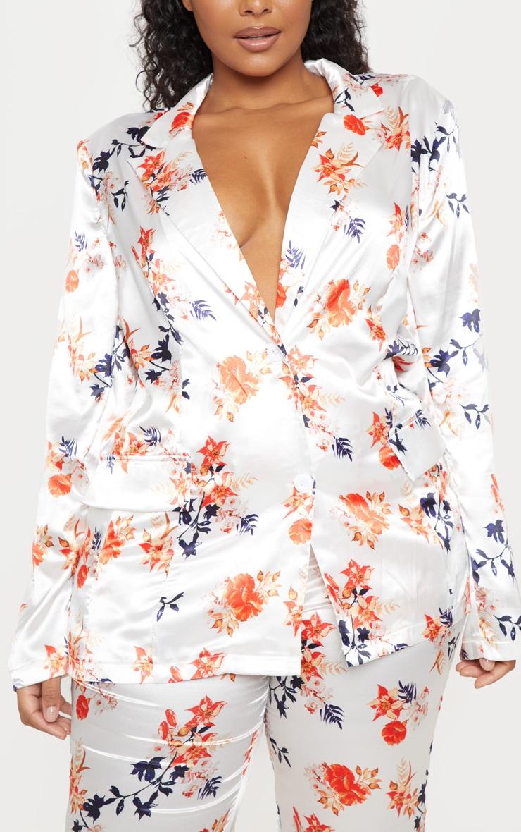 Plus White Floral Printed Satin Blazer  5