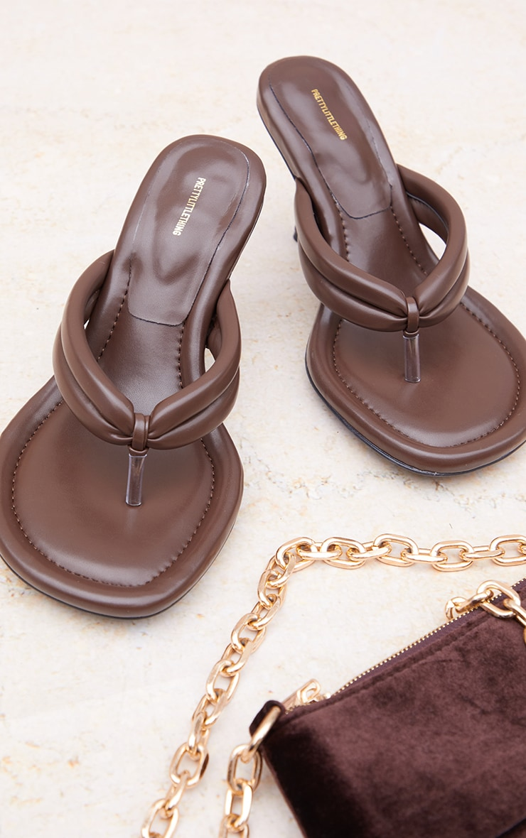 Chocolate Round Toe Thong Tube Strap Heeled Sandals 4