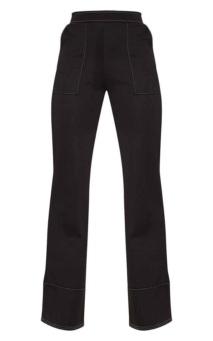 Black Contrast Stitch Trousers 3
