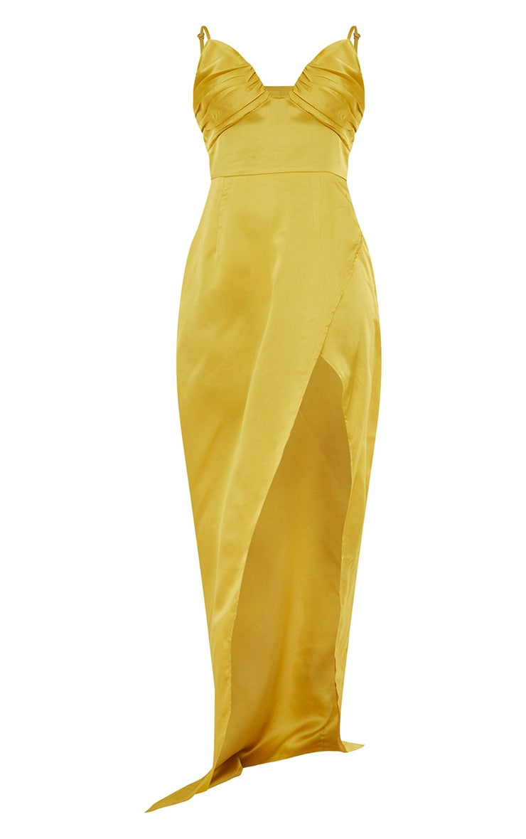Chartreuse Ruched Bust Satin Maxi Dress 5