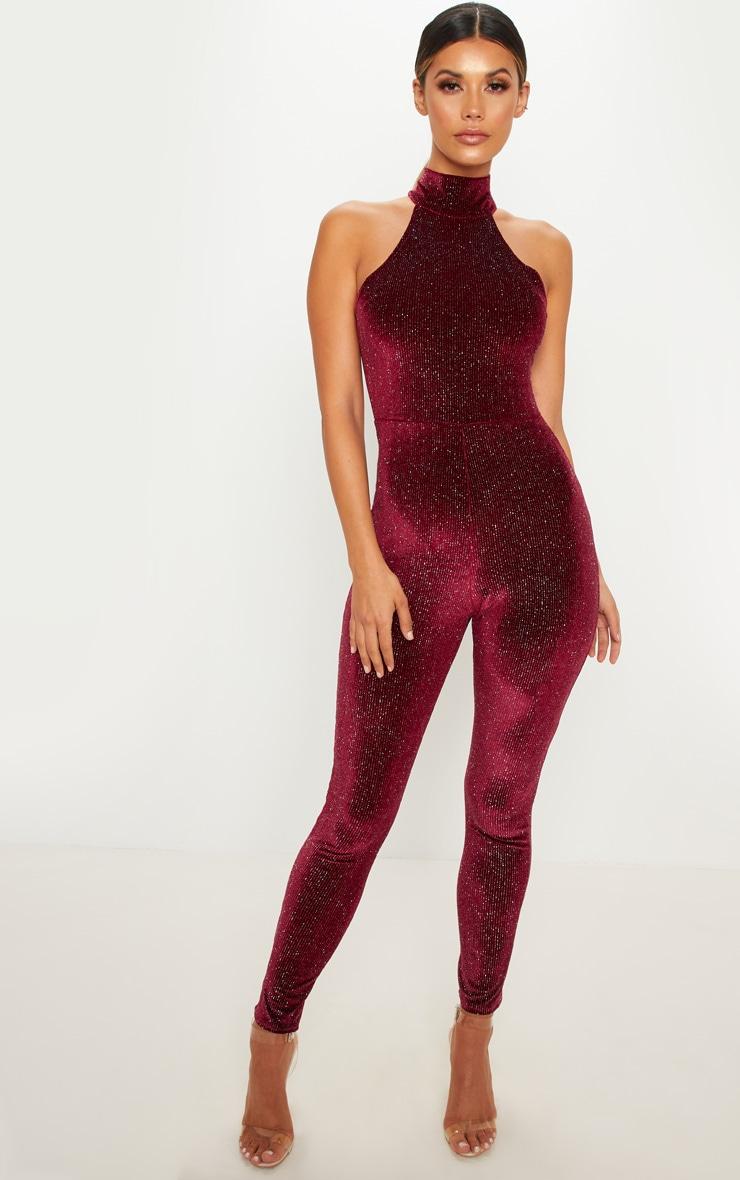 Burgundy Glitter Velvet High Neck Jumpsuit