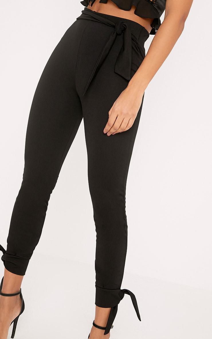 Detta Black Tie Detail Fitted Trousers  5
