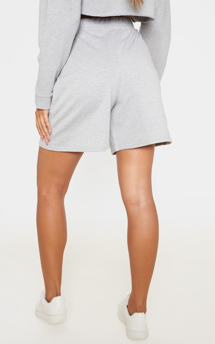 Grey Longline Sweat Shorts 4