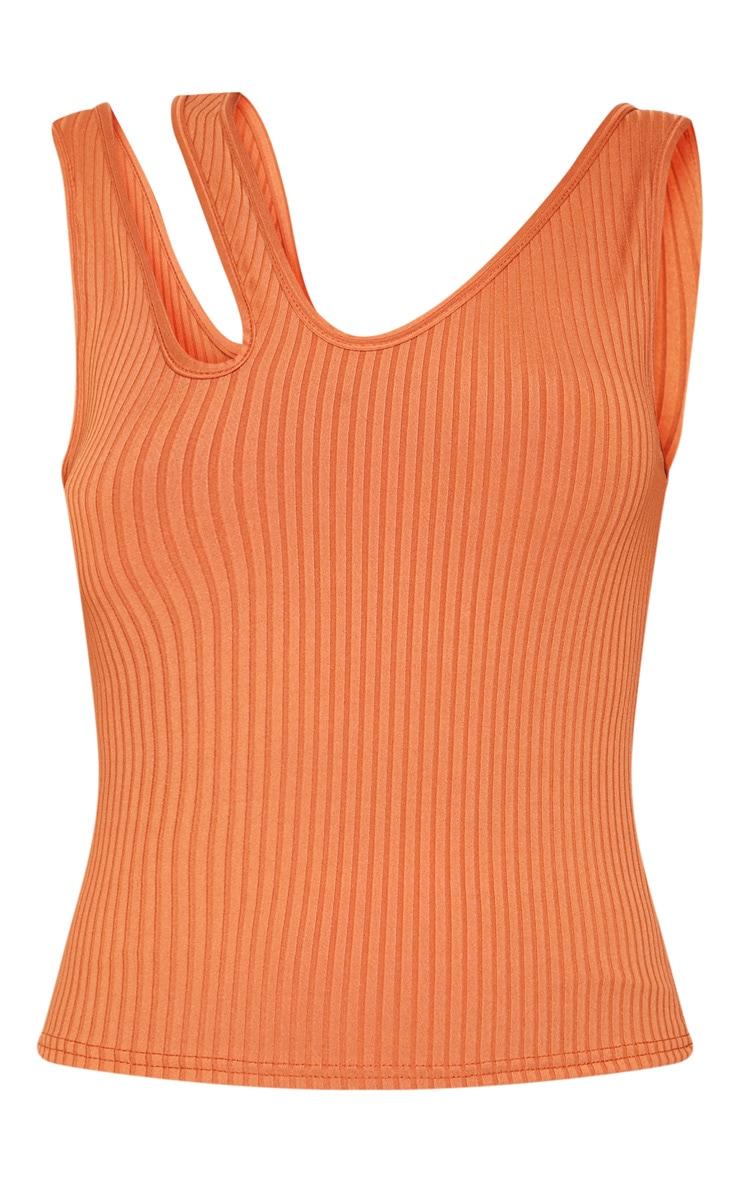 Burnt Orange Rib Cut Out Detail Cami Top 3