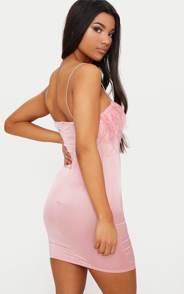 Dusty Pink Strappy Satin Feather Trim Bodycon Dress 3