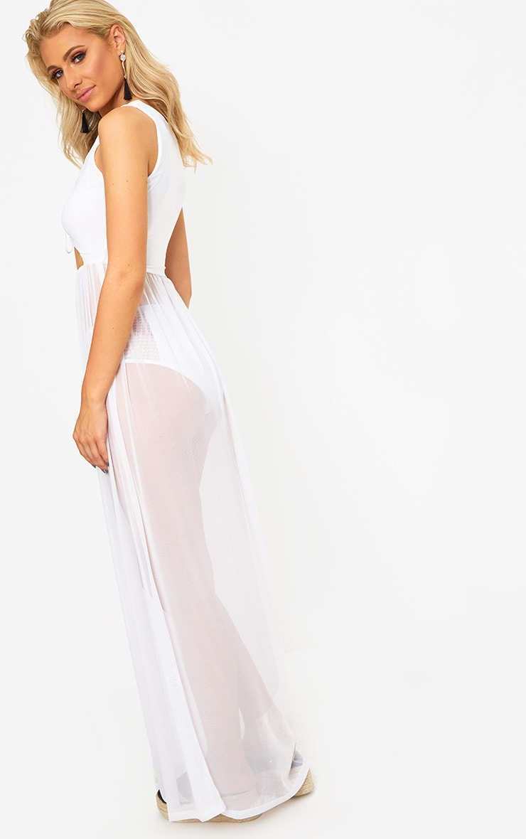 White Sheer Tie Front Mesh Maxi Dress 2
