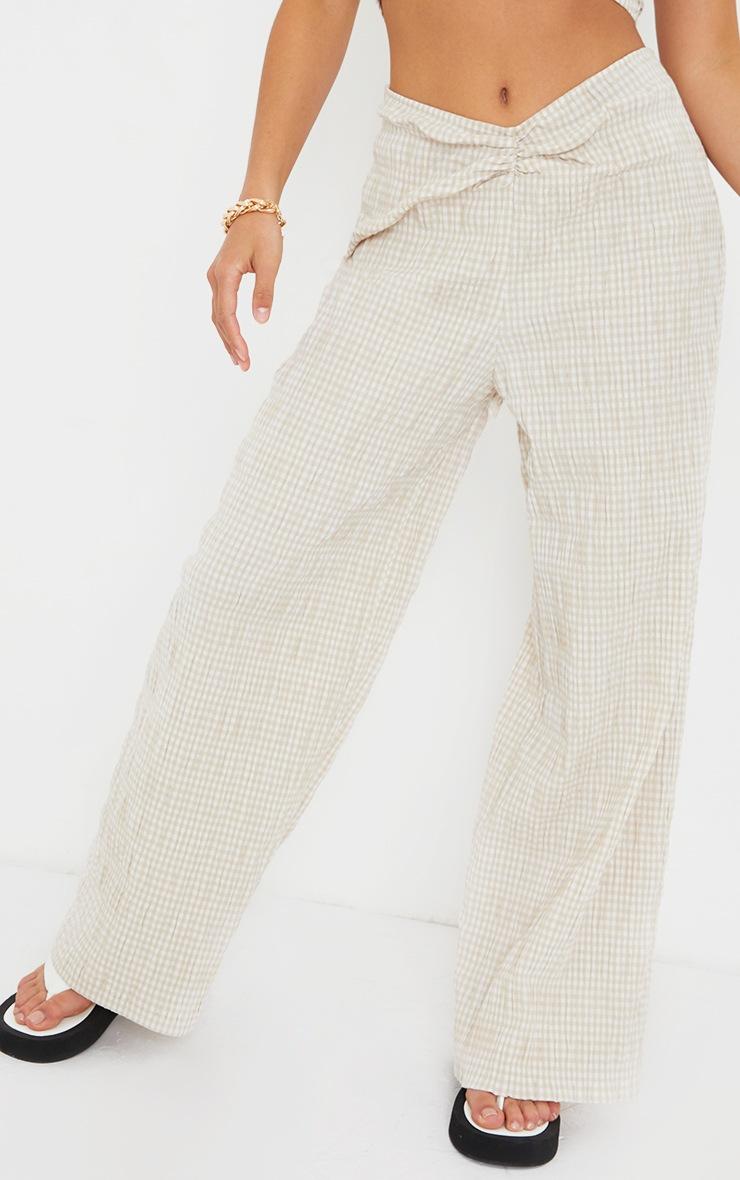 Petite Stone Gignham Ruched Wide Leg Pants 2