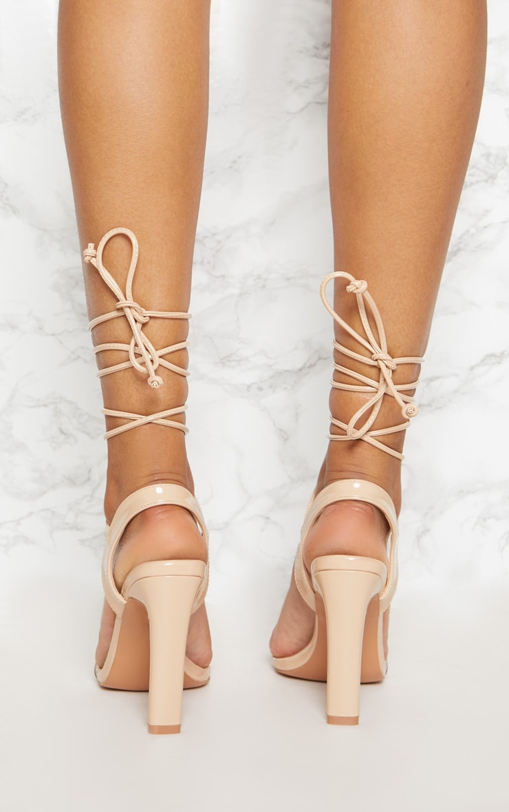 Nude Patent Perspex Square Toe Ghillie Sandal 4