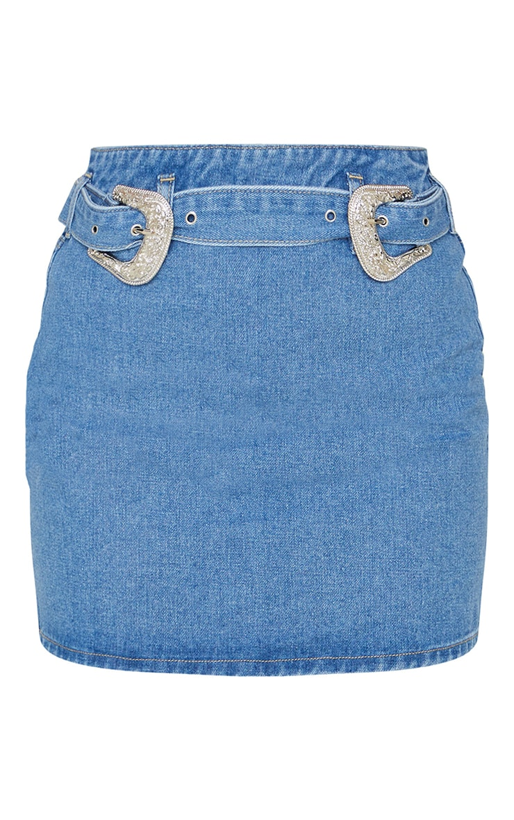 Mid Blue Wash Western Buckle Zip Through Skirt 6
