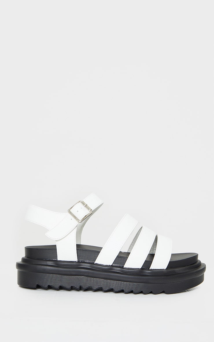 White Contrast Chunky Gladiator Sandals 3