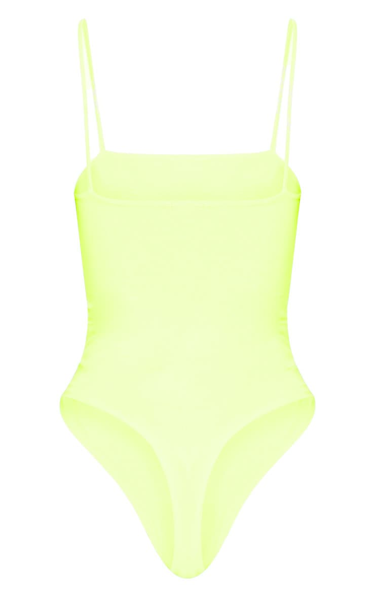 Neon Yellow Straight Neck Cami Bodysuit 4