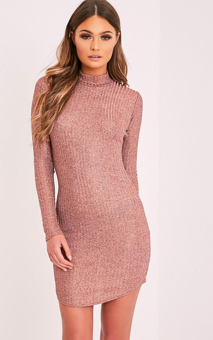 Laila robe moulante à col montant côtelé or rose 1