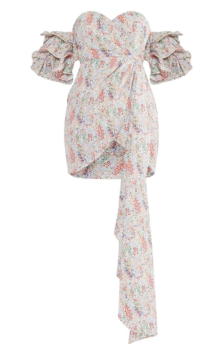 Multi Ditsy Floral Frill Bardot Draped Bodycon Dress 5