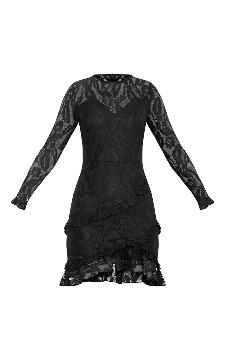Anneke Black Lace Frill Detail Bodycon Dress 3