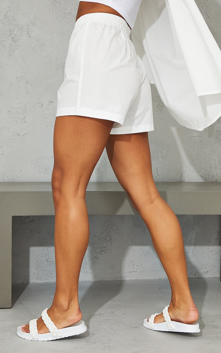 White Woven Boxer Detail Shorts 3