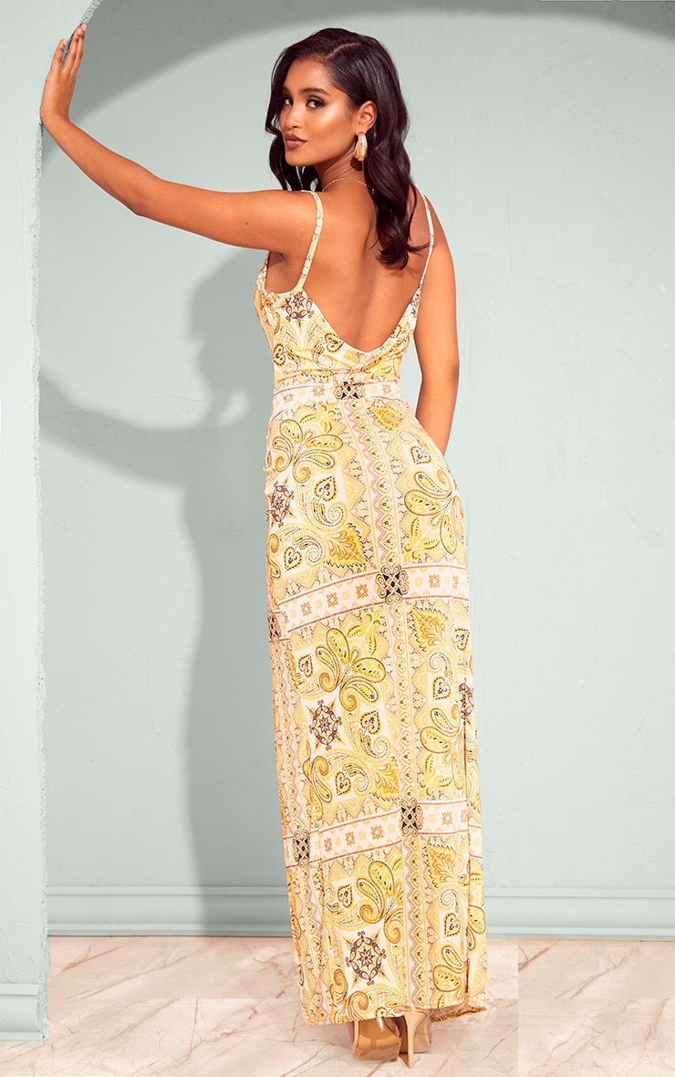 Yellow Tile Print Cowl Neck Maxi Dress 2