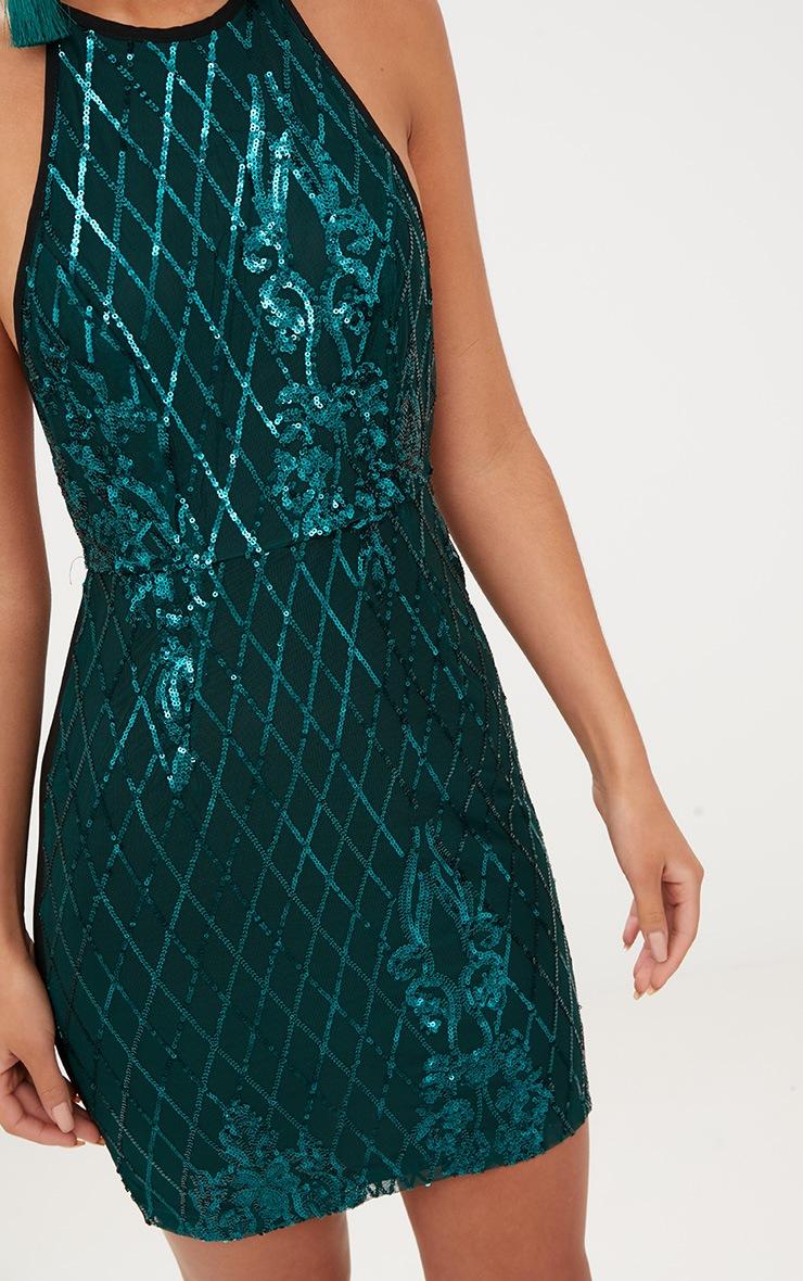 Emerald Green Sequin Front Bodycon Dress 5