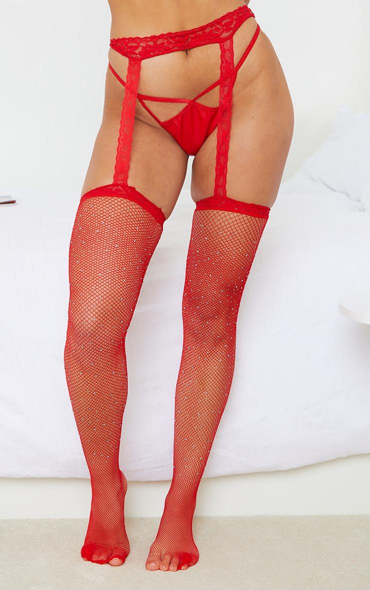 Red Fishnet Diamante Suspender Lace Stockings 1
