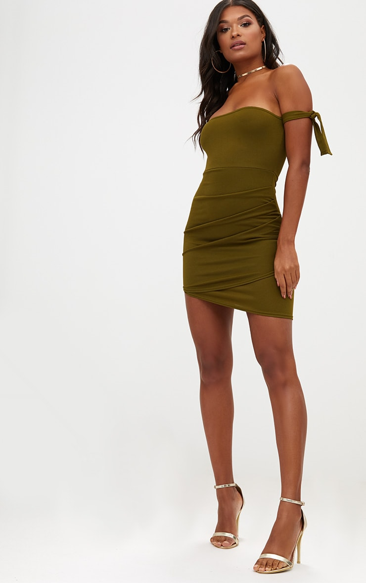 Olive Green Tie Sleeve Ruched Asymmetric Bandeau Bodycon Dress 4
