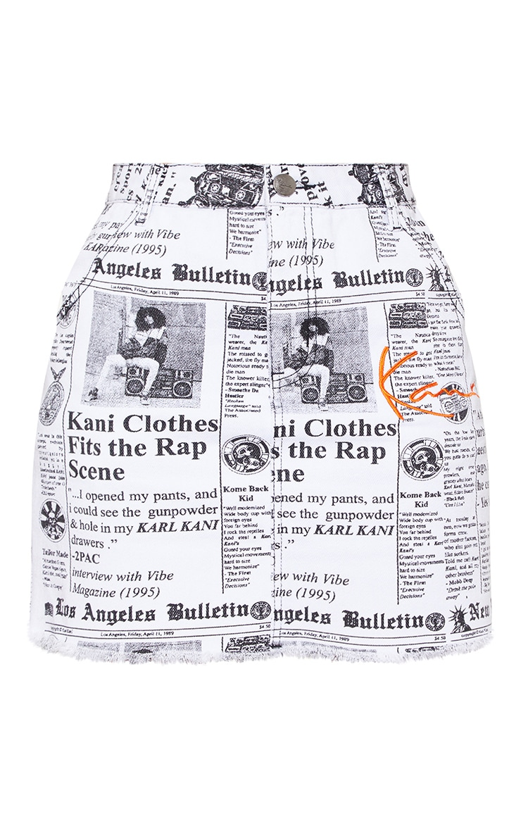 KARL KANI Monochrome Newspaper Bodycon Denim Skirt 4