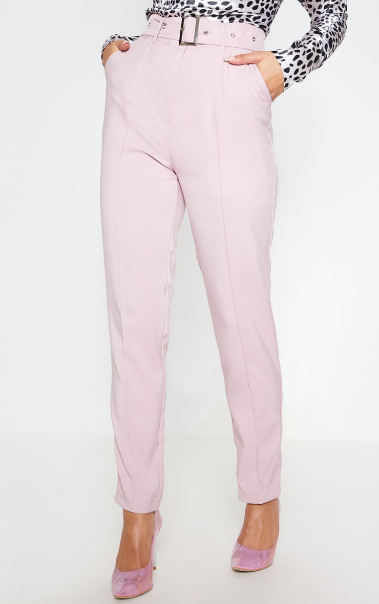 Dusty Pink Belted Tailored Pants 3