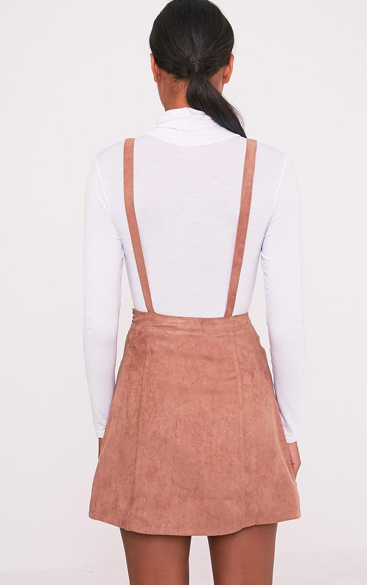 Lumie robe chasuble brun clair en imitation daim 2