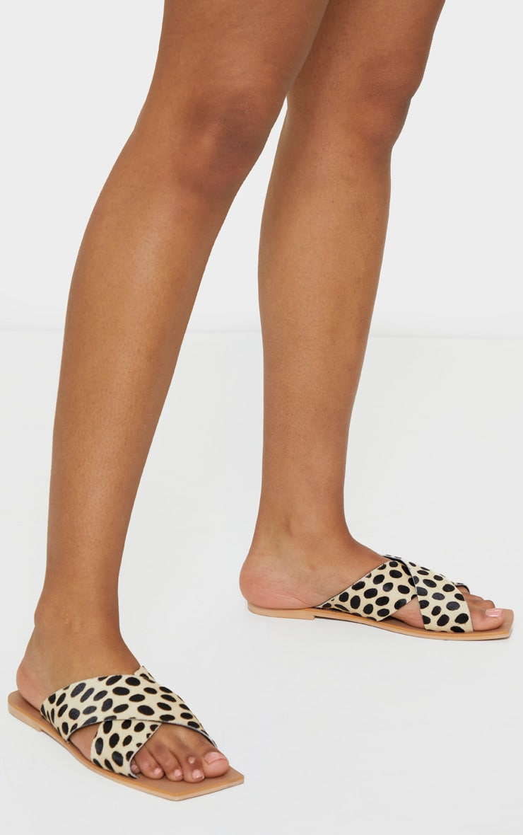 Leopard Square Toe Leather Cross Over Strap Leather Mule Sandals 2