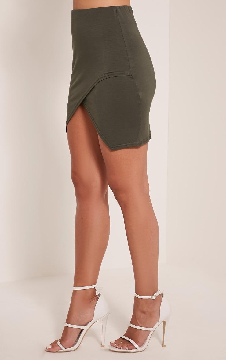 Myla Khaki Wrap Mini Skirt 4