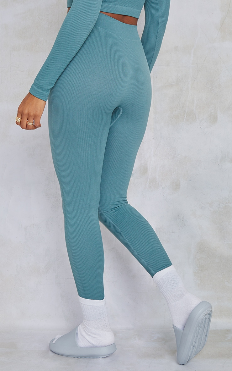 Teal Structured Contour Ribbed Leggings 3