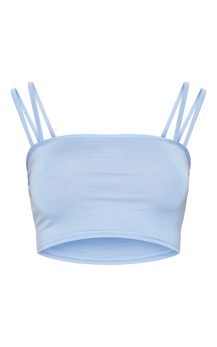 Baby Blue Jersey Double Strap Crop Top 3