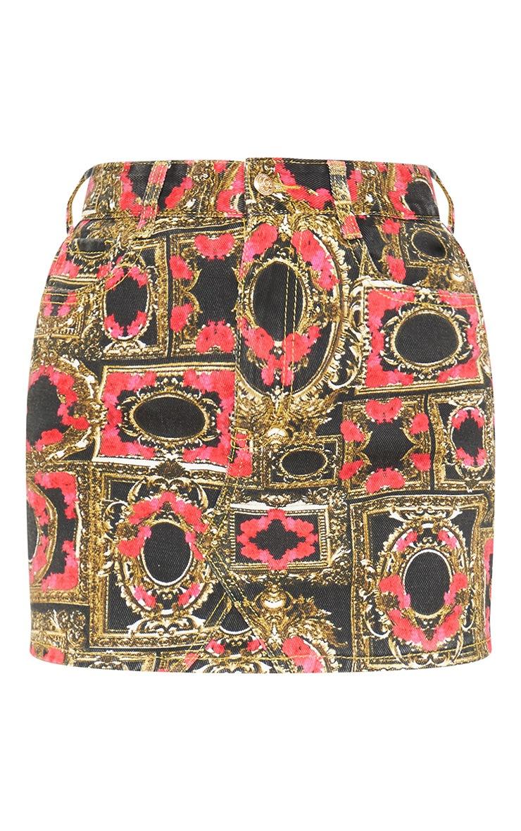 Black Floral Baroque Printed Denim Skirt 3