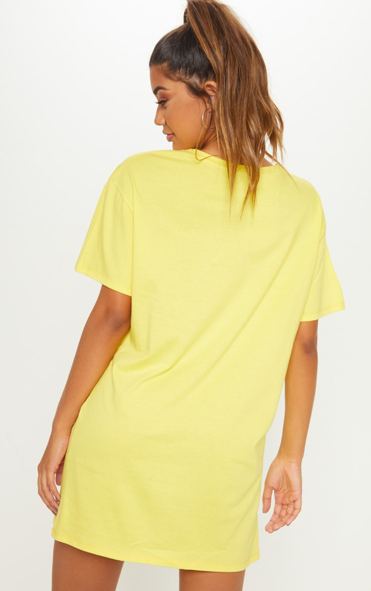 Washed Yellow David Bowie Oversized Boyfriend T Shirt Dress 2