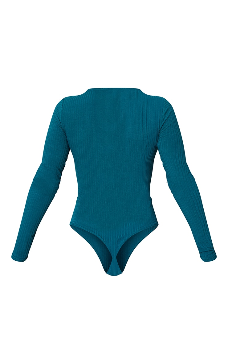 Dark Teal Wide Rib Crew Neck Long Sleeve Bodysuit 6