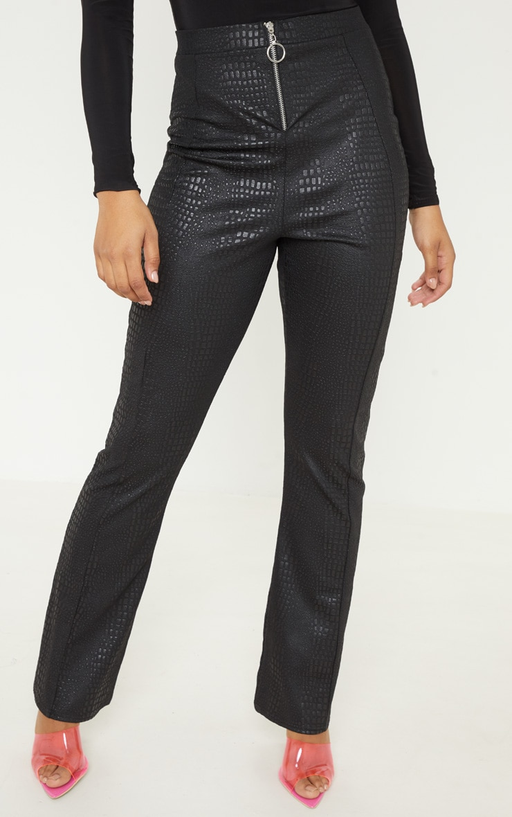 Tall Black Faux Croc Pu Zip Detail Wide Leg Trouser  2