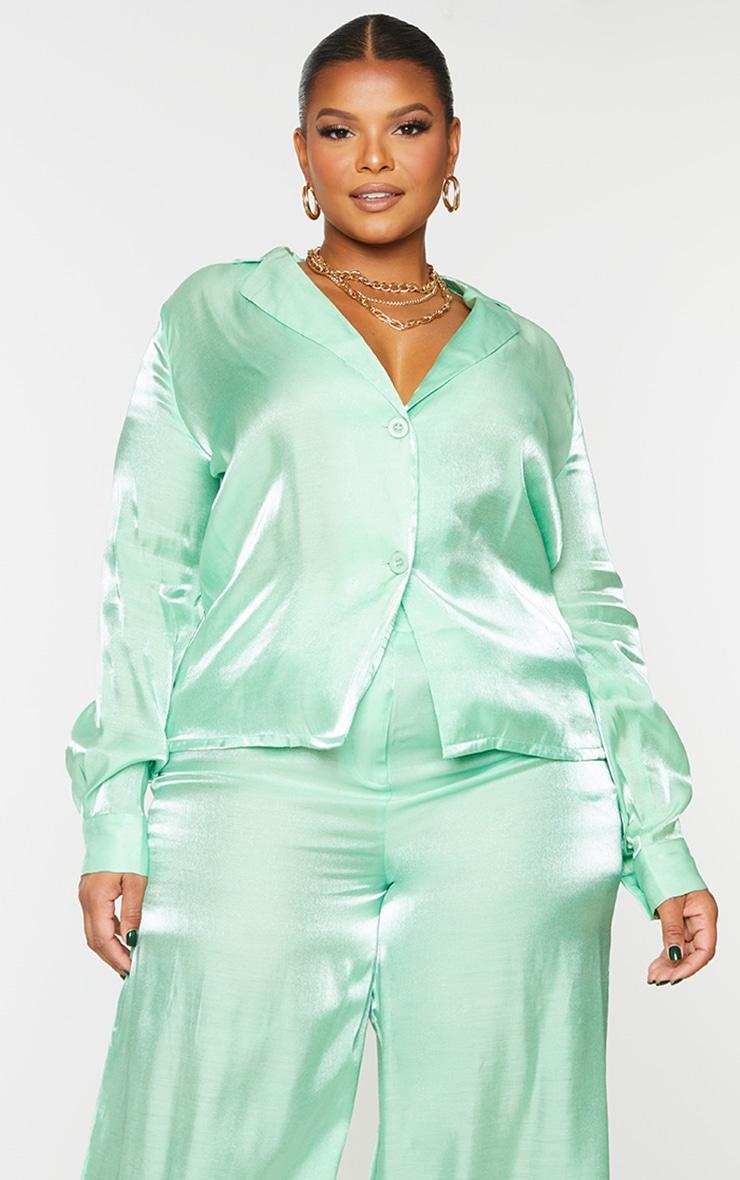 Plus Sage Green Metallic Oversized Shirt 1