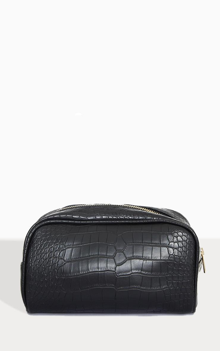 PRETTYLITTLETHING Black Croc Makeup Bag 2