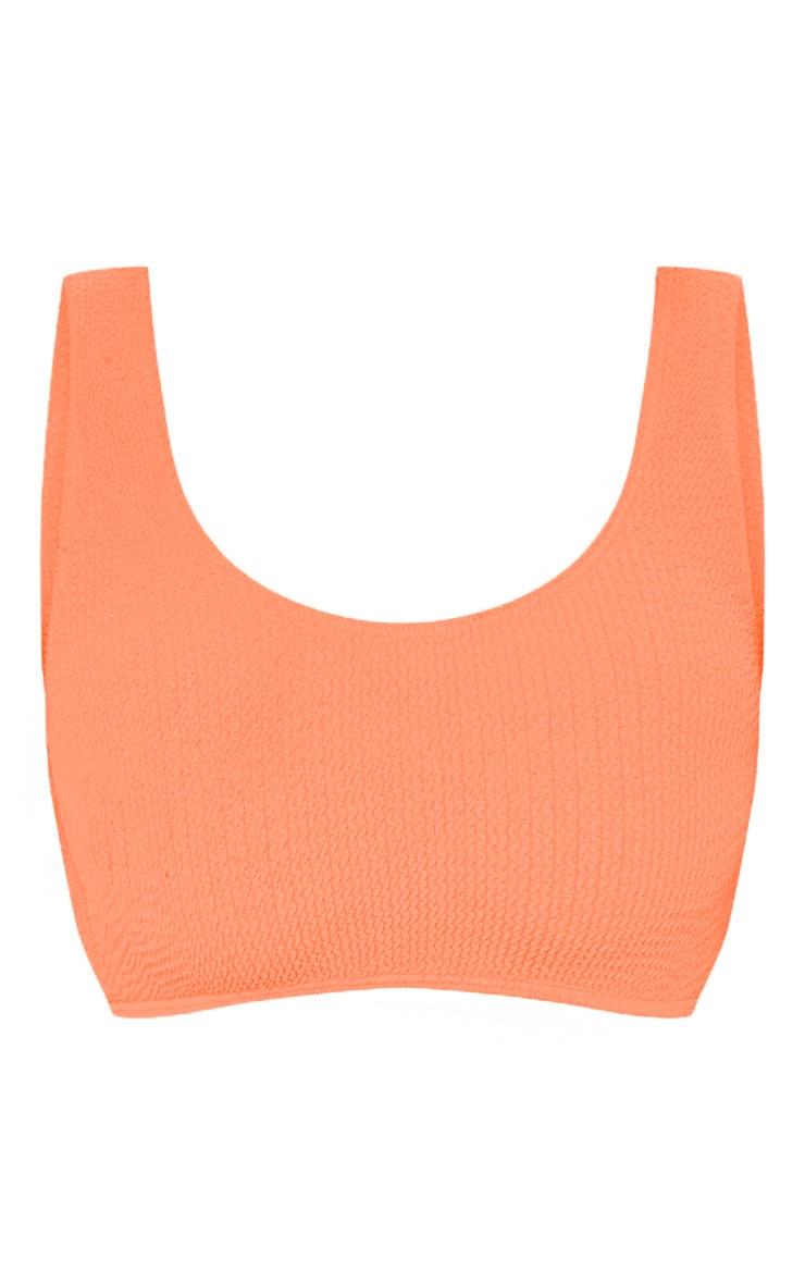 Coral Fuller Bust Crinkle Deep Scoop Bikini Top 3