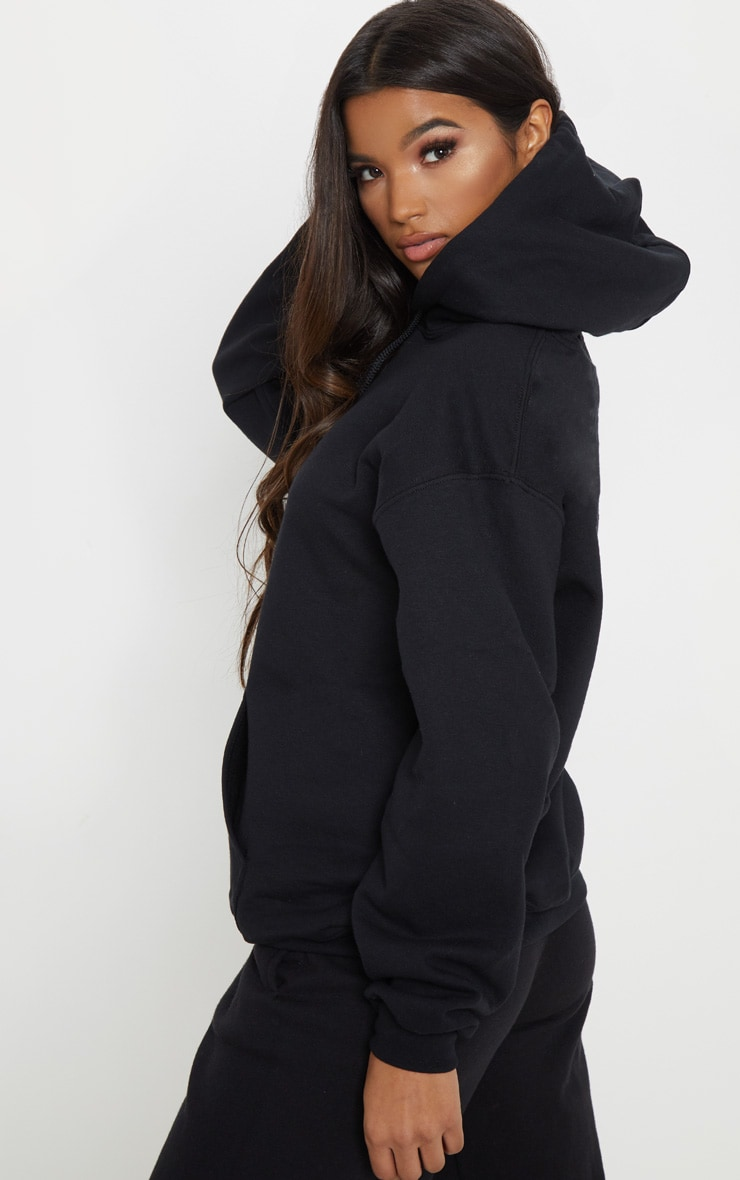 PRETTYLITTLETHING Black Embroidered Oversized Hoodie 2