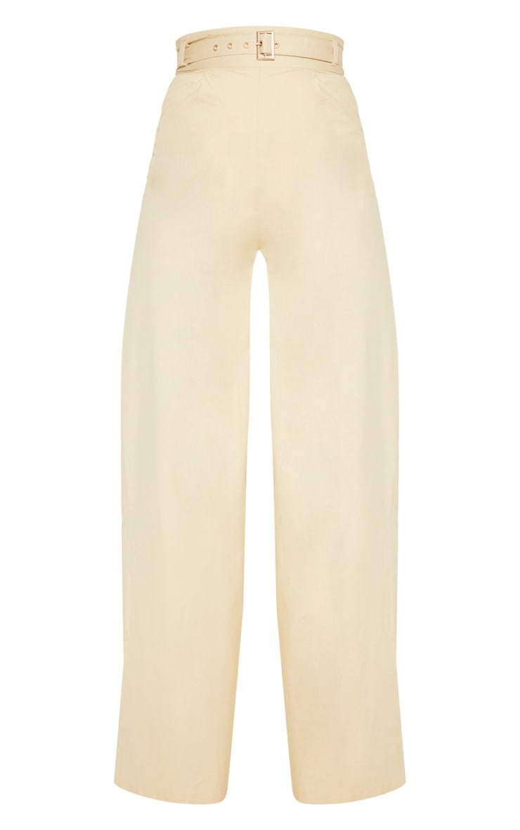 Cream Belted Waist Wide Leg Trouser 3