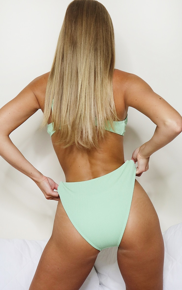 Sage Green Mini Crinkle Bikini Bottom 2